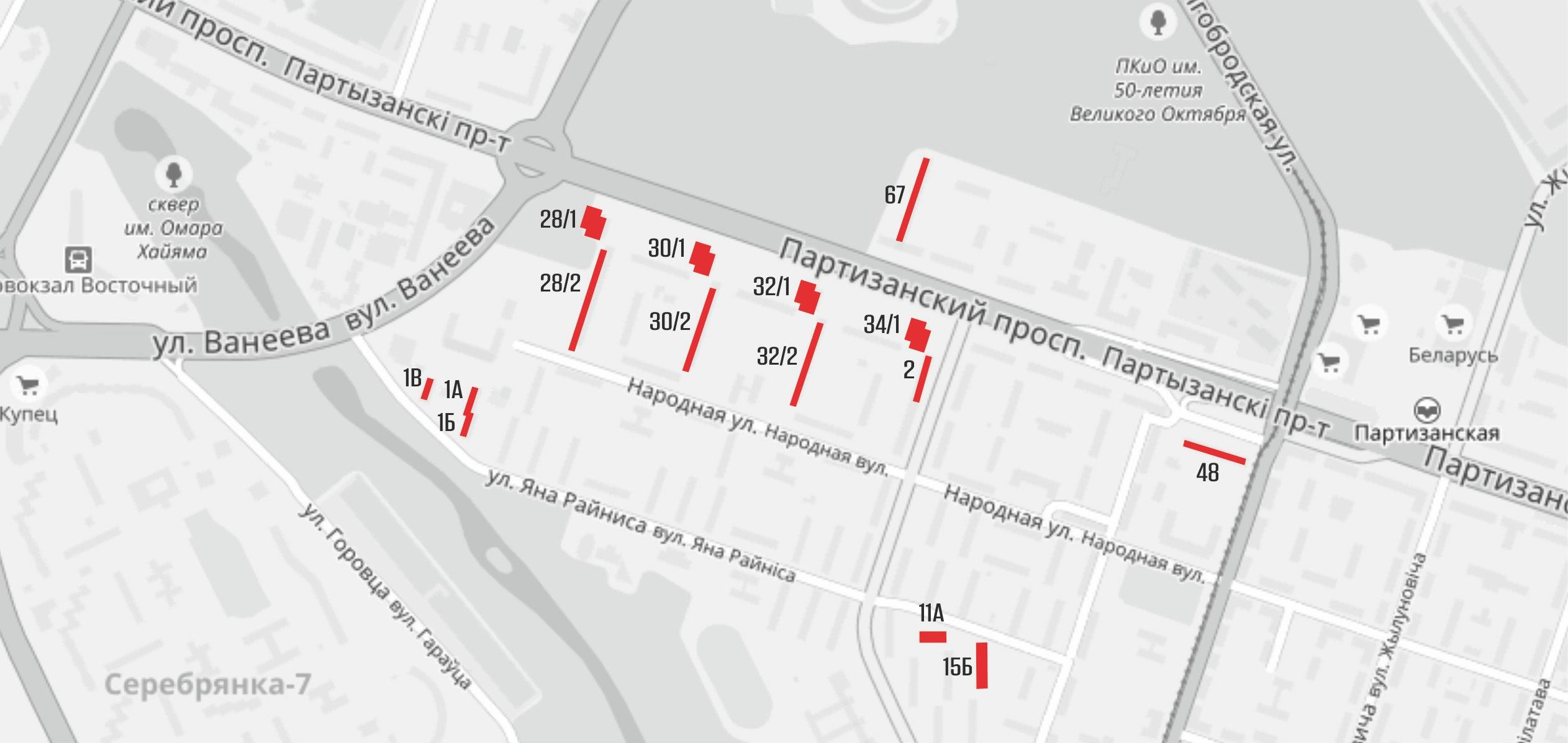 Карта расположения рекламных конструкций в лифтах р-на Партизаснкий