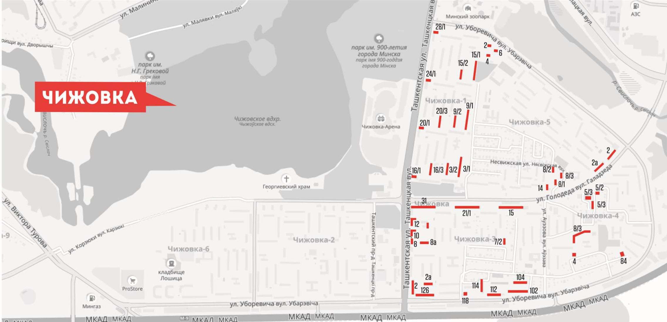 Карта расположения рекламных конструкций в лифтах р-на Чижовка