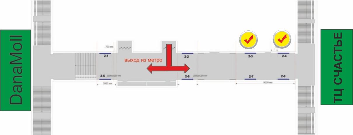 Схема расположения рекламного места на станции метро Восток (переход) reklama-on.by