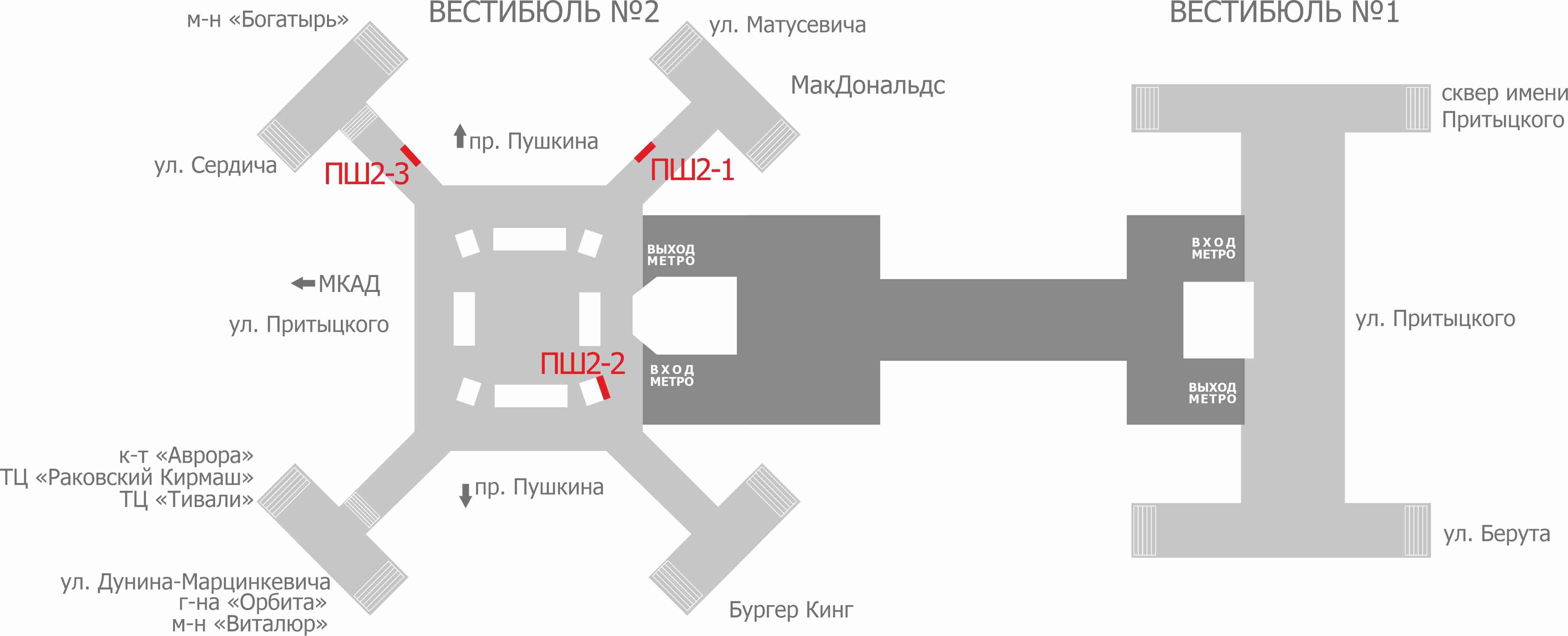Схема расположения рекламных мест в переходе метро ст.м Пушкинская reklama-on.by